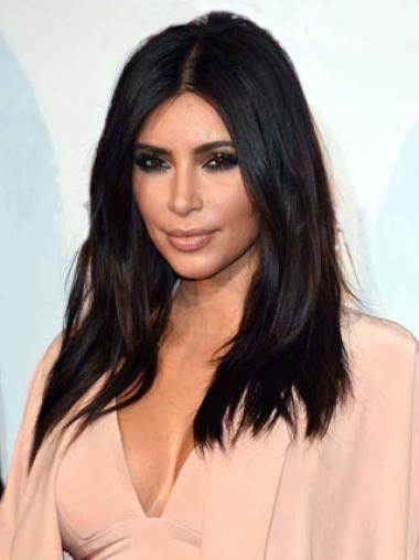Sexy Long Straight Kim Kardashian Hairstyle Synthetic Lace Front Wigs 18 Inches