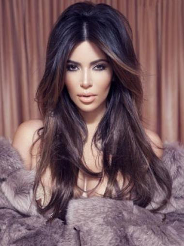 New Long Kim Kardashian Hairstyle 100% Indian Hair Lace Wig 22  Inches edfa062639af