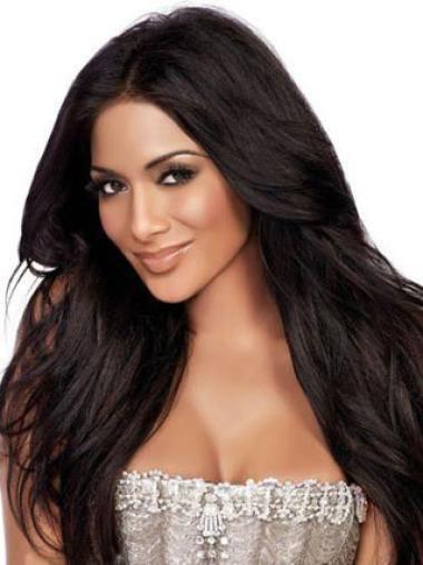 Kim Kardashian Hairstyle Super Long 100% Human Hair Lace Front Wig Natural Straight 24 Inches
