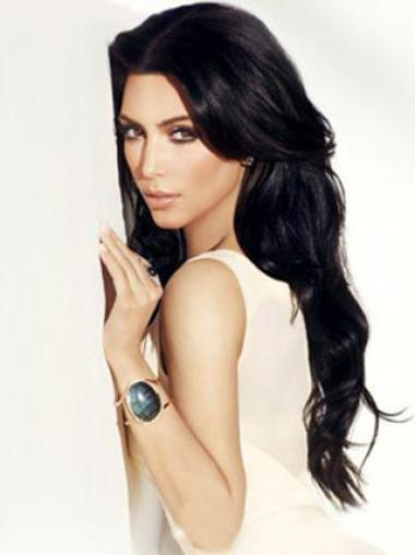 Kim kardashian Long Wavy Hairstyle Lace Wig 100% Remy Human Hair 24 Inches