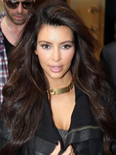 Amazing Elegant Kim Kardashian Hairstyle Long Loose Wavy Brown Lace Wig 100% Human Hair 24 Inches