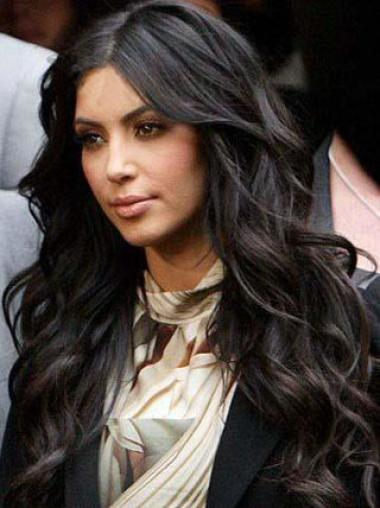 Glamorous Long Body Wave Kim Kardashian Hairstyle Lace Front Human Hair Wig 20 Inches