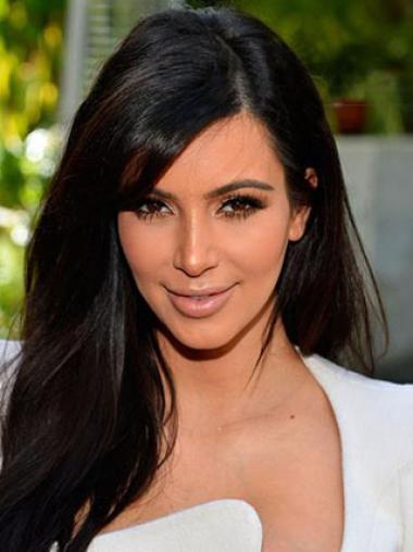 Kim Kardashian Long Straight Side Bang Hairstyle Human Hair Lace Front Wig 18 Inches