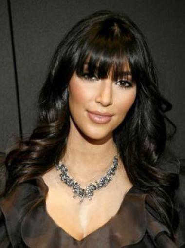 Kim Kardashian 100% Human Hair Custom Graceful Long Polished Stunning Glossy Wavy Black Wig 18 Inches