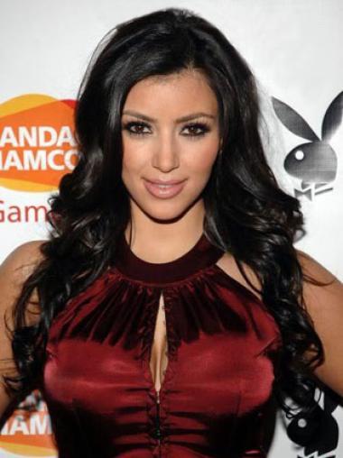 Kim Kardashian Hairstyle 100% Human Hair Long Wavy Black 22 Inches Full Lace Wig