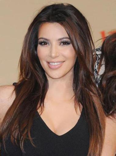 100% Human Hair Kim Kardashian Hair Long Smooth Straight 20 Inches Perfect Full Lace Wig