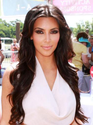 Kim Kardashian Pretty Long Loose Wave hair style Lace Front Synthetic Wigs 24 Inches