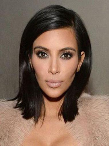 Kim Kardashian Elegant Silky Straight Mid-length Lace Front Human Hair Wigs 14 Inches