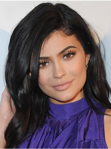 """Black Wavy 18"""" Long Affordable Synthetic With Bangs Capless Kylie Jenner Wigs"""