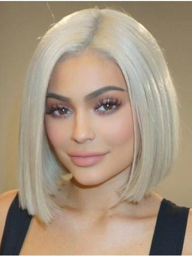 """Platinum Blonde Straight 10"""" Medium Amazing Syntietic Bob Lace Front Kylie Jenner Wigs"""