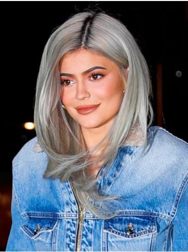 "Long Platinum Blonde 16"" Capless Top Straight Synthetic Kylie Jenner Wigs"