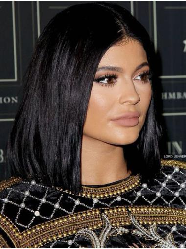 "22"" Straight Black Synthetic Lace Front Stylish Kylie Jenner Wigs"