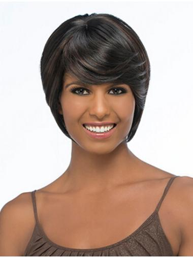 Graceful Black Straight Chin Length African American Wigs