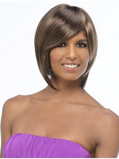 Impressive Brown Straight Chin Length African American Wigs