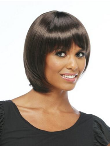 Refined Black Straight Chin Length African American Wigs