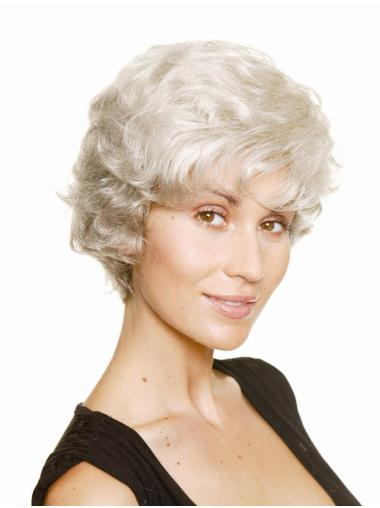 Impressive Wavy Chin Length Synthetic Grey Wigs