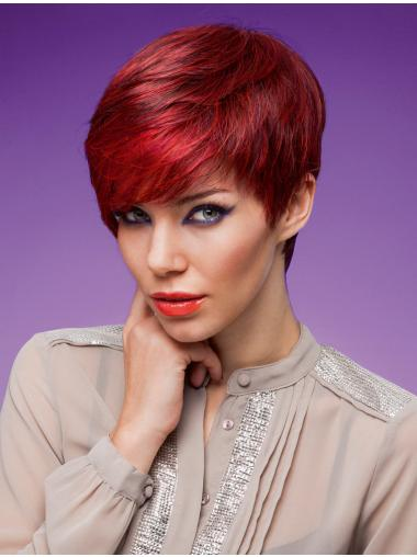 Wholesome Red Monofilament Cropped Synthetic Wigs