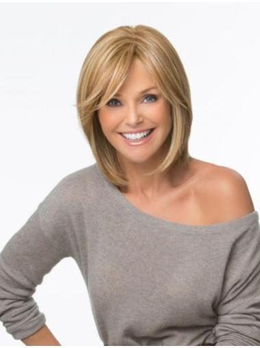 Beautiful Blonde Monofilament Shoulder Length Synthetic Wigs