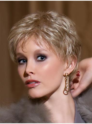Elegant Blonde Wavy Cropped Lace Wigs