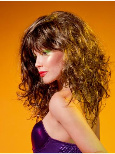 Nice Brown Curly Long Monofilament Wigs