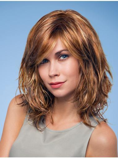 Fashionable Auburn Wavy Shoulder Length Monofilament Wigs