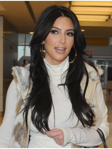 Impressive Black Straight Long Kim Kardashian Wigs