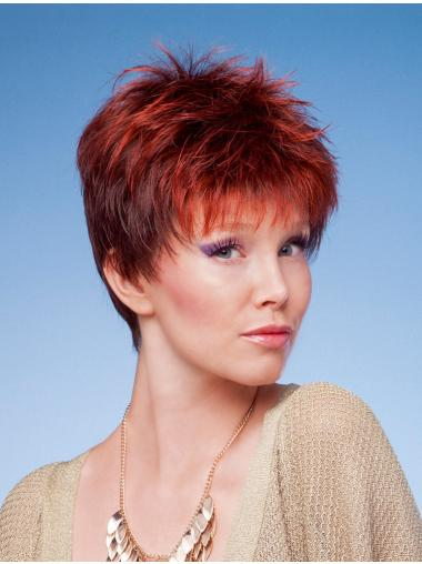 Red Convenient Boycuts Straight Short Wigs