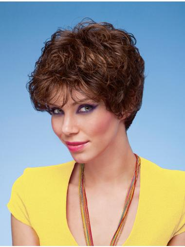 Suitable Brown Curly Short Classic Wigs