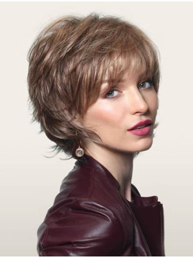 Brown Easy Layered Wavy Short Wigs