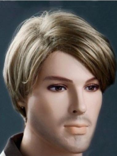 Elegant Brown Straight Short Men Wigs