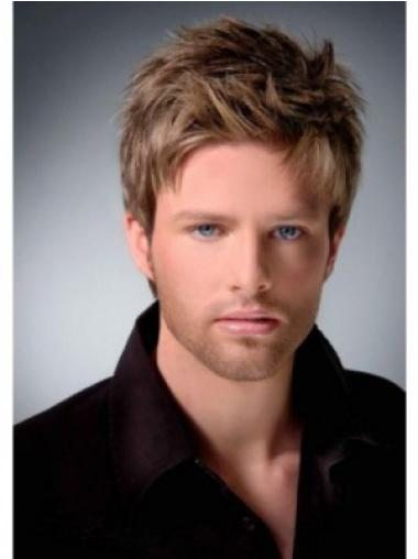 Brown Straight Remy Human Hair Suitable Men Wigs