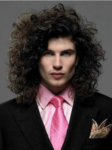 Popular Black Curly Shoulder Length Men Wigs