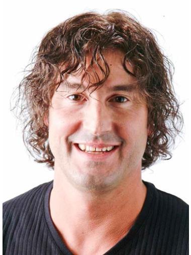 Monofilament Curly Remy Human Hair Polite Men Toupees
