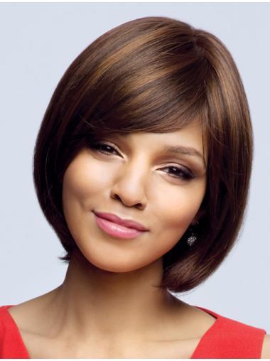 Brown Wavy Remy Human Hair Hairstyles Medium Wigs