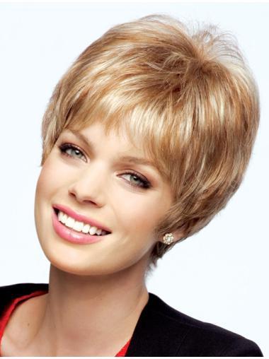 Perfect Monofilament Boycuts Blonde Short Wigs