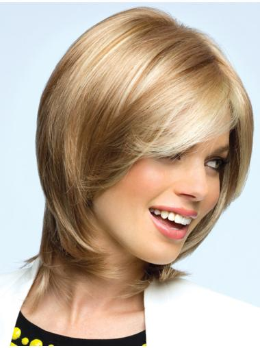 Blonde Wavy Synthetic Flexibility Medium Wigs