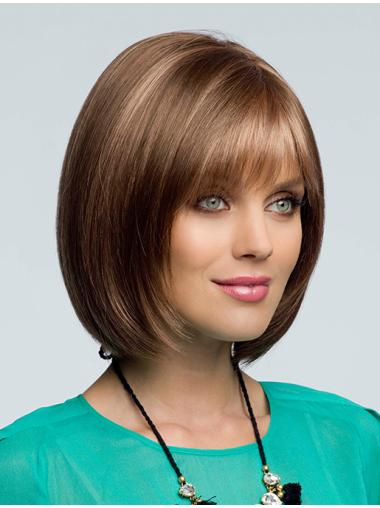 Gentle Brown Wavy Chin Length Synthetic Lace Wigs