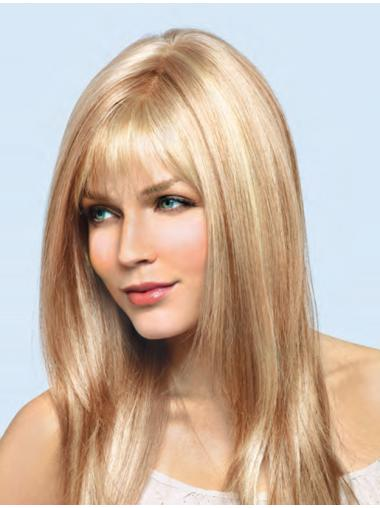 Blonde Straight Remy Human Hair Easy Long Wigs