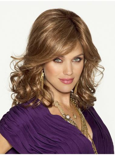 Blonde Wavy Synthetic Stylish Medium Wigs