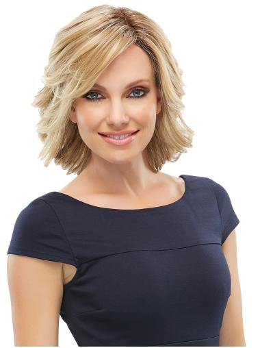 Modern Blonde Wavy Chin Length Lace Front Wigs