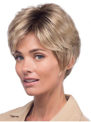 Tempting Blonde Monofilament Short Celebrity Wigs