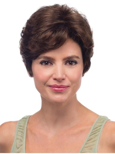 Brown Easeful With Bangs Wavy Short Wigs
