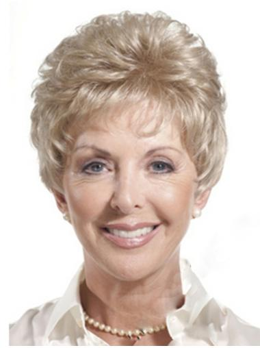 Shining Blonde Monofilament Cropped Classic Wigs