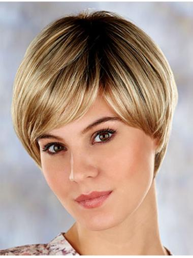 Blonde Comfortable Layered Straight Short Wigs