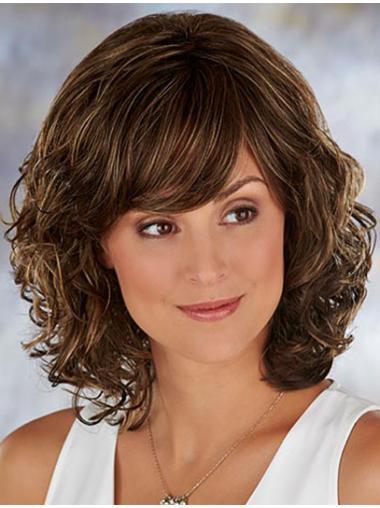 Brown Trendy Wavy Synthetic Medium Wigs