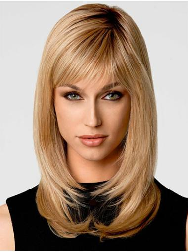 Blonde Wavy Synthetic Good Medium Wigs