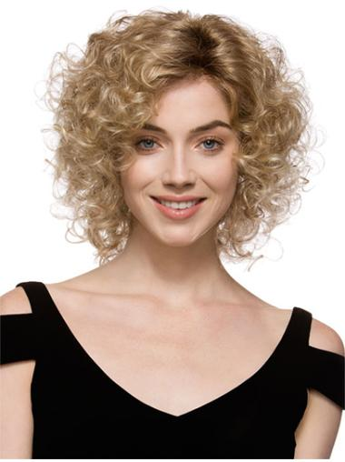 Faddish Brown Curly Chin Length Glueless Lace Front Wigs