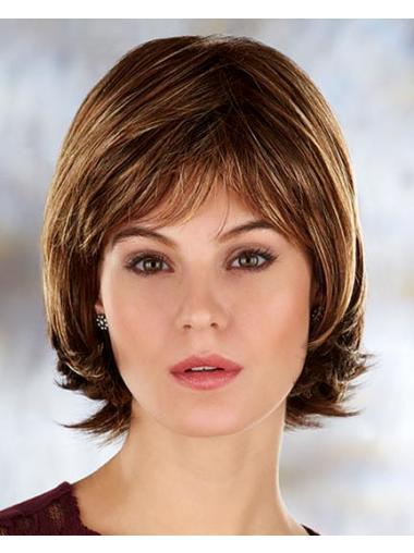 Brown Sassy Straight Synthetic Medium Wigs