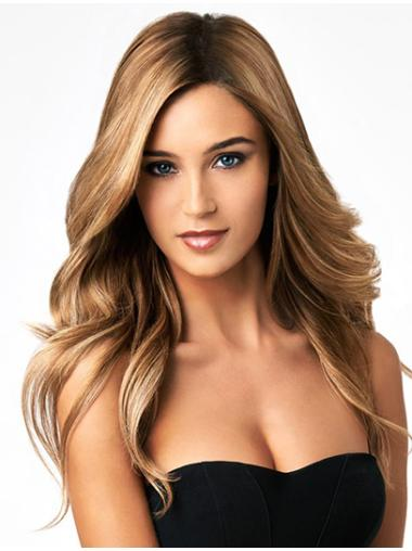 Blonde Wavy Remy Human Hair Easeful Long Wigs