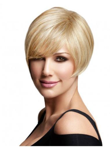 Easy Blonde Straight Chin Length Remy Human Lace Wigs